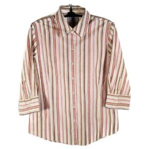 George Stretch Womens Small 46 Tan Striped Blouse